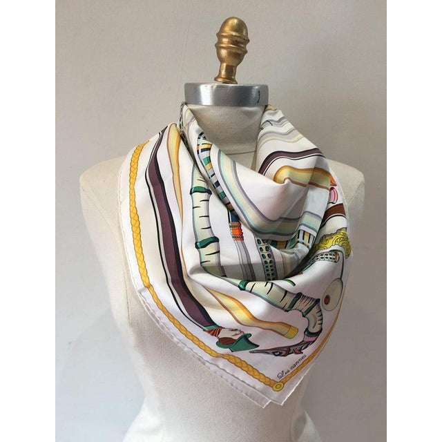 Boho Chic Hermes Les Cannes Silk Scarf in White For Sale - Image 3 of 11