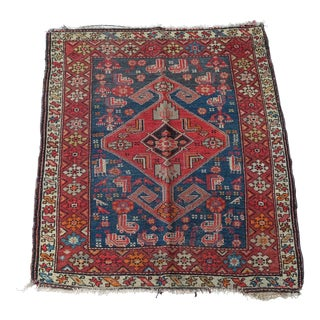 Antique Kurdish Tribal Rug Red and Blue 4x5 For Sale