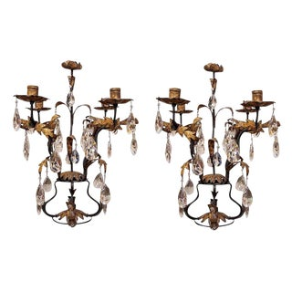 Pair of Gilt Iron and Crystal Girandoles For Sale