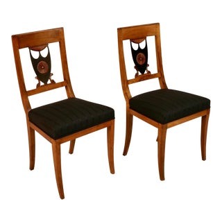 1830 Biedermeier Maple and Ebonized Wood Side Chairs - a Pair For Sale