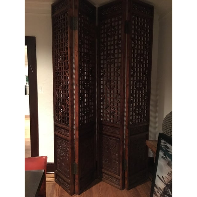 Antique Chinese 4 Panel Screen - Image 3 of 5