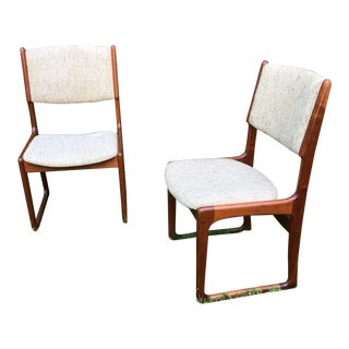 1960s Danish Modern Beige Upholstered Teak Side Chairs - a Pair For Sale