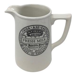 English Advertising Milk Pitcher, Sadler For Sale