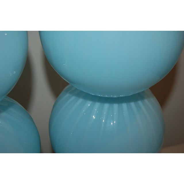 Joe Cariati Glass Ball Table Lamps Blue For Sale In Little Rock - Image 6 of 10