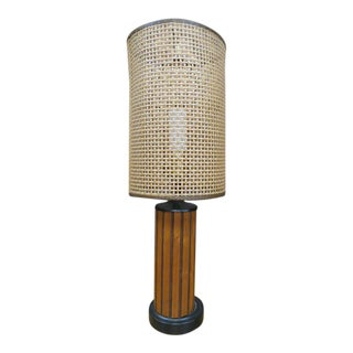 1960s Vintage Mid Century Modern Walnut Lamp With Rattan Shade For Sale