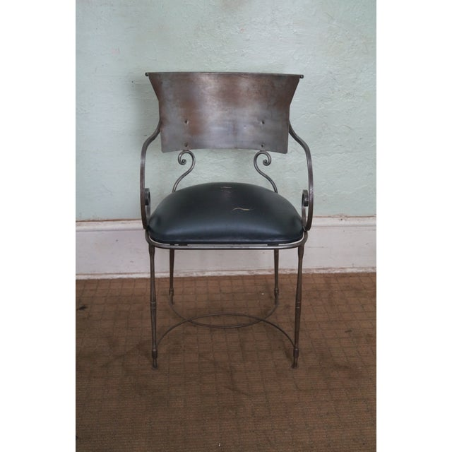 Quality Steel Directoire Style Klismos Arm Chair. Approx 25 years, Italy. High quality, Italian made, distressed steel arm...