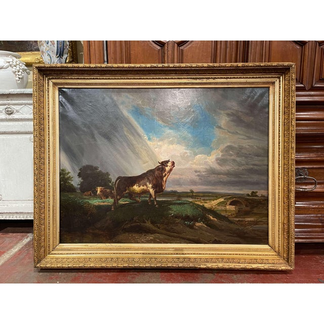 19th Century French Oil on Canvas Cow Painting in Carved Gilt Frame For Sale - Image 13 of 13