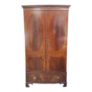 Vintage 1940s Georgian Hepplewhite Inlaid Bow-Front Bedroom Armoire Wardrobe Closet For Sale