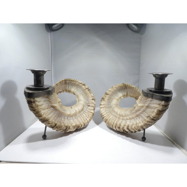 Pair of Silverplate & Faux Ram's Horn Candlesticks For Sale - Image 10 of 10