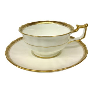 1980s Art Nouveau Cauldon England Gold Leaf on Porcelain Tea Cup and Saucer - 2 Piece Set For Sale
