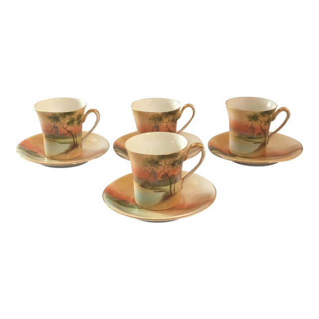 Handpainted Noritake Windmill Scene Cups & Saucers - Set of 4 For Sale