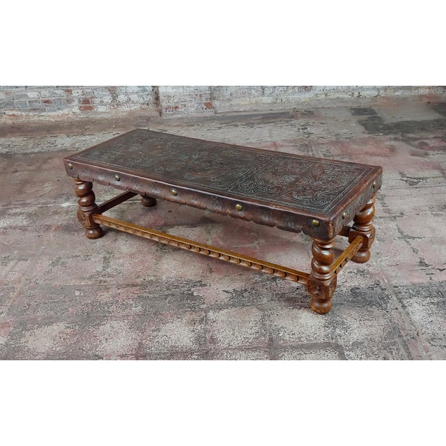 Antique Spanish Colonial Bench-Beautiful Carved Wood & Embossed Leather For Sale - Image 10 of 10