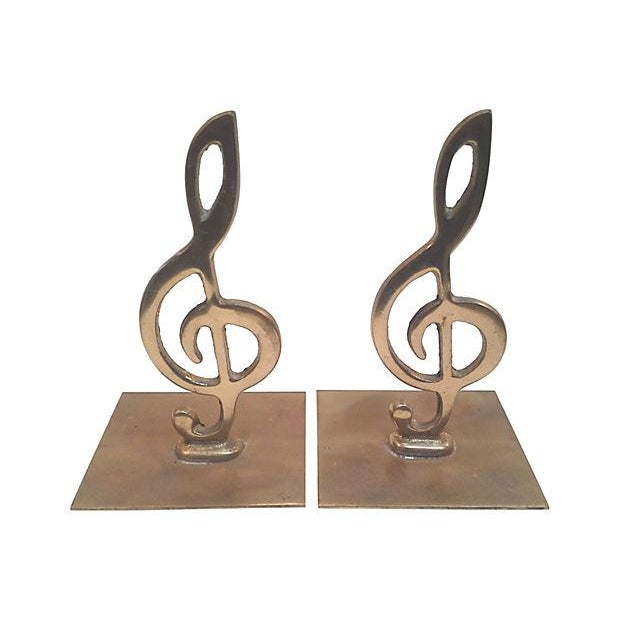 Brass Treble Clef Bookends- A Pair - Image 1 of 3