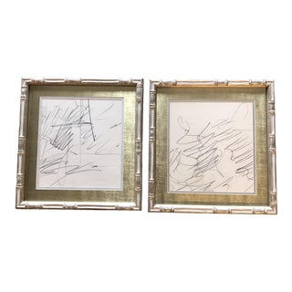 Gallery Wall Collection 2 Original 1970's Abstract Charcoal Drawings Silver Bamboo Frames - a Pair For Sale