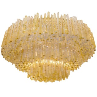 Three-Tiered Amber and Clear Glass Chandelier For Sale