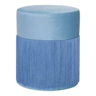Pouf Pill Blue in Velvet Upholstery With Fringes by Houtique