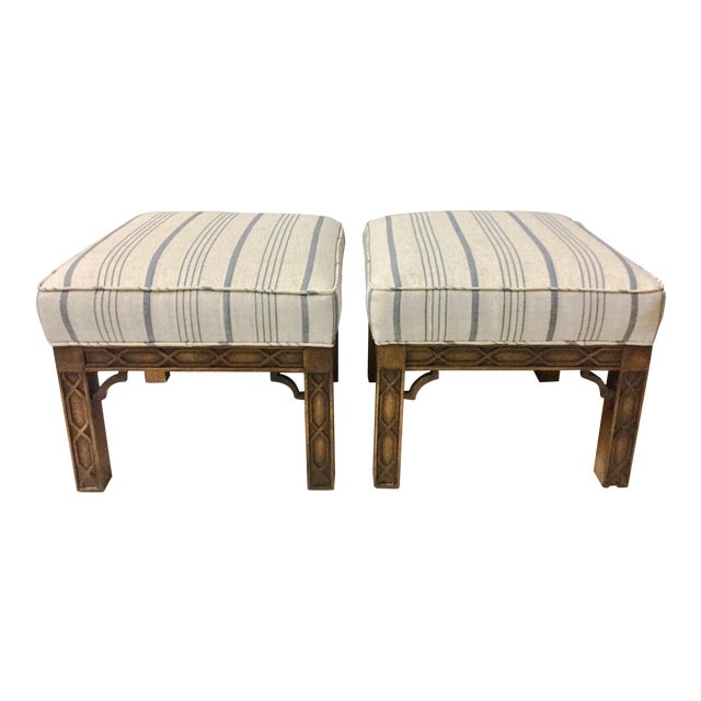 Pair of Chinese Chippendale Style Ottomans For Sale