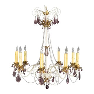 Mid-Century Painted Metal Chandelier With Amethyst Colored Glass For Sale