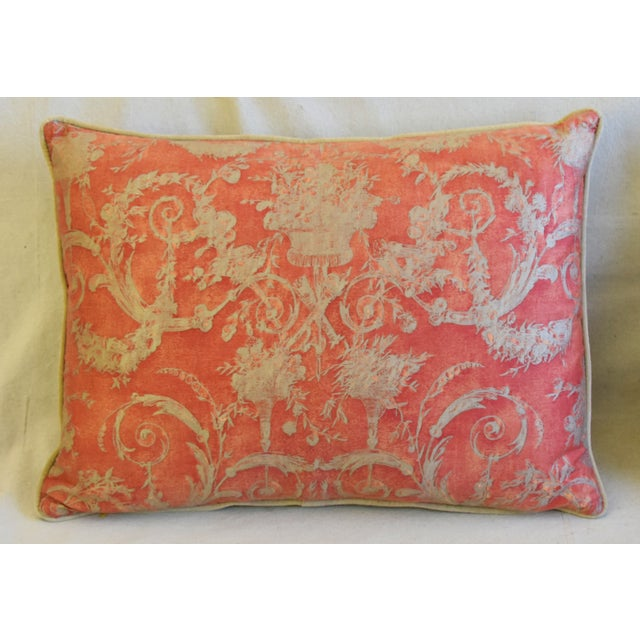 """French Italian Fortuny Festoni Feather/Down Pillows 24"""" X 18"""" - Pair For Sale - Image 3 of 13"""