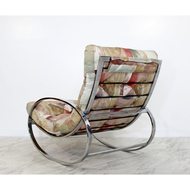 Mid Century Renato Zevi Chrome Elliptical Rocking Chair For Sale - Image 9 of 10