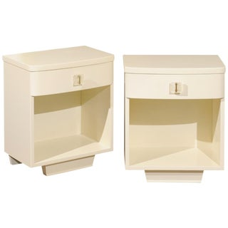 Rare Pair of Modern End Tables With Lucite Hardware by John Stuart, Circa 1940 For Sale