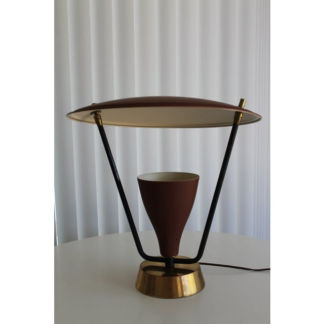 1950s Burgundy and Gold Saucer Reflector Lamp For Sale - Image 9 of 9