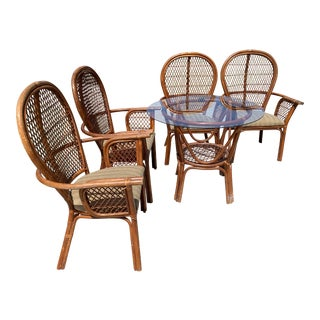 Vintage Boho Chic McGuire Rattan Style Dining Set- 5 Pieces For Sale
