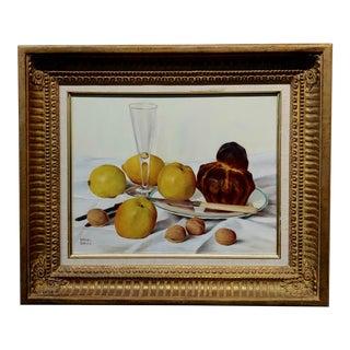 Daniel Girard - Still Life of Walnuts, Apples & Lemons -Oil Painting For Sale