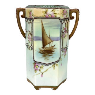 Art Nouveau Style Hand-Painted Nippon Vase For Sale