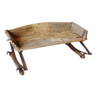 Mid 19th Century Primitive Worn Wood and Metal Horse Drawn Carriage Seat For Sale