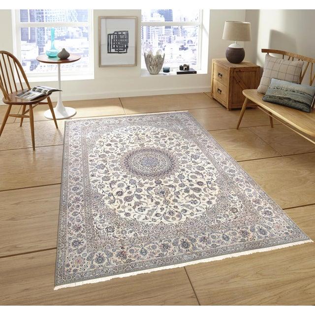 "Pasargad Persian Nain Silk & Wool Rug - 8' 8"" X 12' 1"" For Sale - Image 5 of 5"