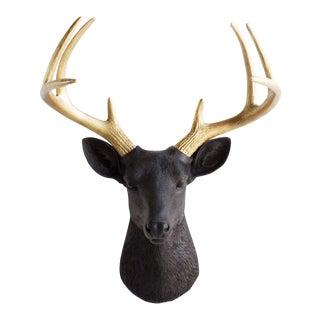 Black & Gold Deer Antler Sculpture For Sale