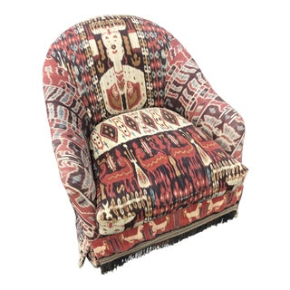 Custom Made Ikat Print Club Chair For Sale