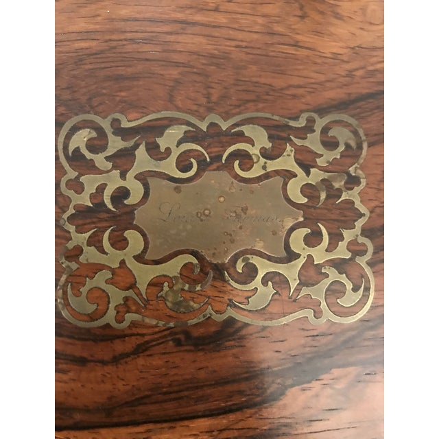 Gold 19th C. Brass Inlaid Rosewood Artist Box For Sale - Image 8 of 9