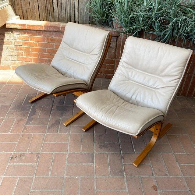 Vintage circa 1990s Westnofa /Ingmar Relling Design Lounge Chair Pair. Classic Scandinavian Modern from Norway's most...