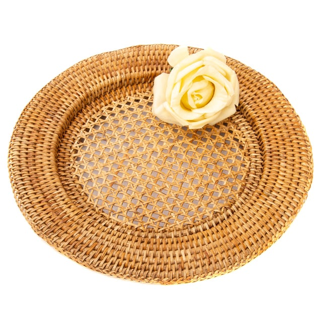 """Artifacts Rattan 13"""" Open Weave Charger For Sale - Image 4 of 5"""