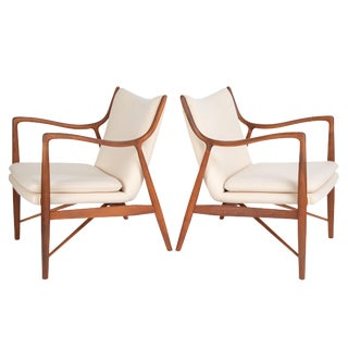 "Pair of Finn Juhl ""45"" Chairs for Baker Furniture, Circa 1950s For Sale"