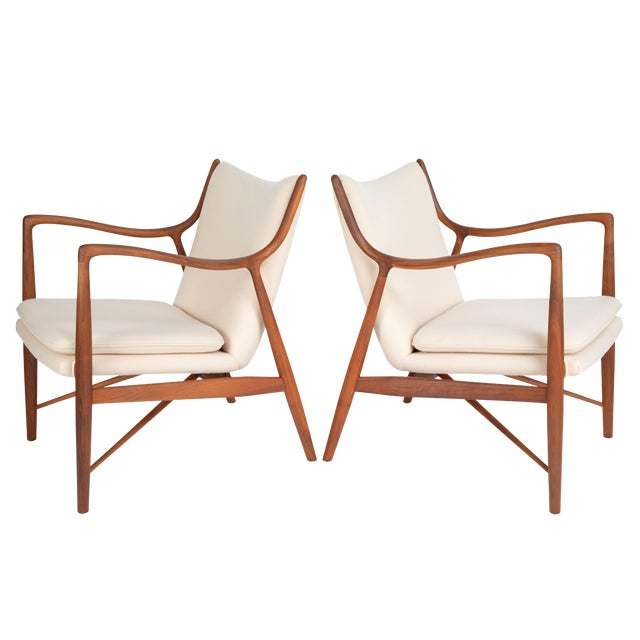"""Pair of Finn Juhl """"45"""" Chairs for Baker Furniture, Circa 1960s For Sale"""
