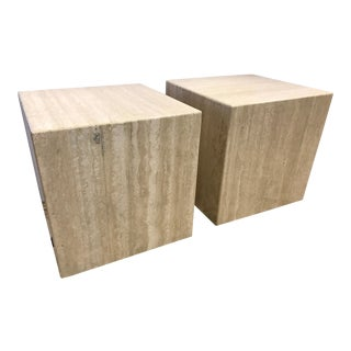 Pair of Midcentury Travertine Cube End Table Stools Italy For Sale