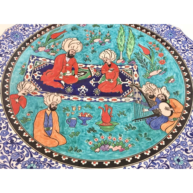 Large Turkish Ottoman Scene Polychrome Hand Painted Ceramic Plate Kutahya For Sale In Los Angeles - Image 6 of 12