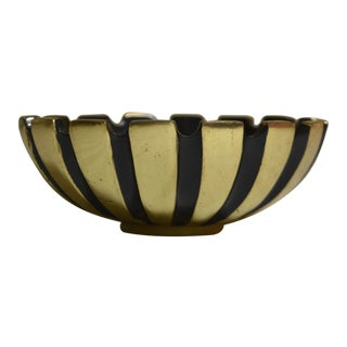 Walter Bosse Style Mid-Century Striped Brass & Black Bowl, Ashtray For Sale