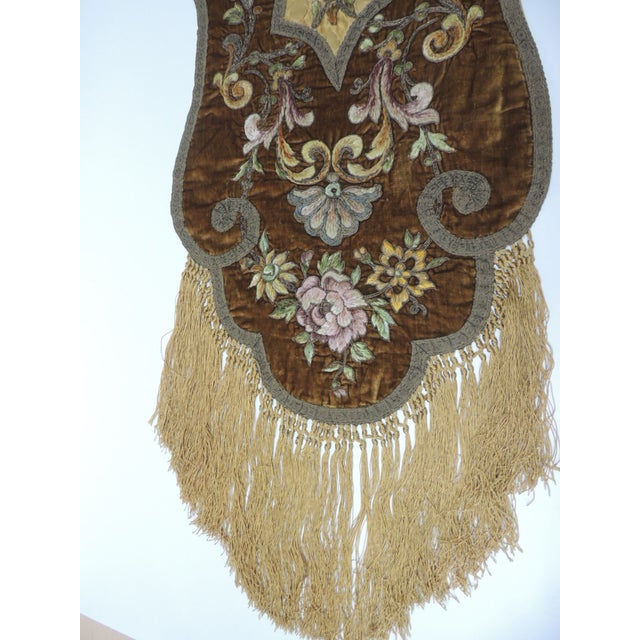 Late 19th Century 19th Century Silk Embroidery Byzantine Damask and Velvet Table Runner For Sale - Image 5 of 9