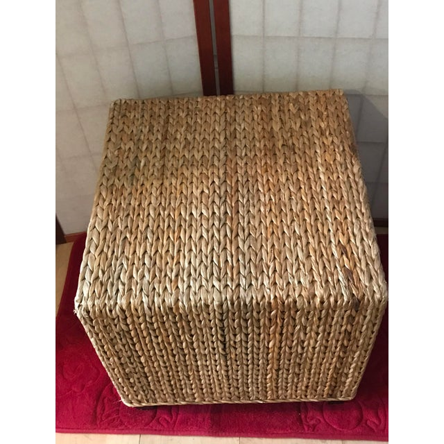 Wicker Rattan Cube Footstool, Table or Seat - Image 2 of 5