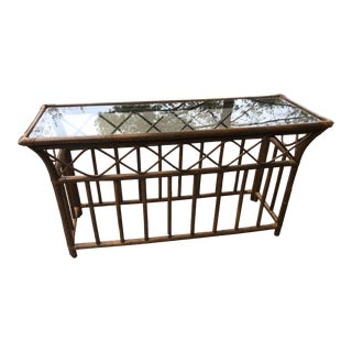 Late 20th Century Ficks and Reed Style Bamboo Table For Sale