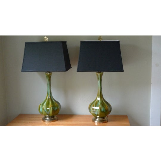 Mid-Century Modern Table Lamps (Pair) Mid-Century Tapered Blown Glass in Murano Style Swirl of Colors For Sale - Image 3 of 11