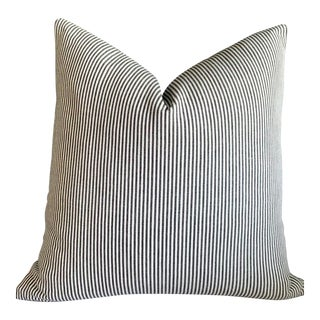 Woven Charcoal Ticking Pillow Cover - 22x22 For Sale