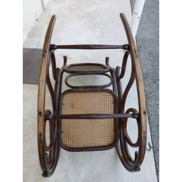 Wood Original Condition Signed Thonet Bentwood Rocker Circa 1896 For Sale - Image 7 of 11