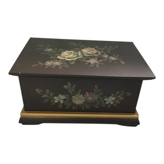 Handmade Handpainted Wooden Box For Sale
