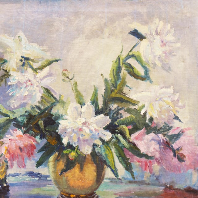 Impressionist 'Pink and White Dog Roses' by Dorothy Frants, 1960; Oil Still Life, Chicago Woman Artist For Sale - Image 3 of 8