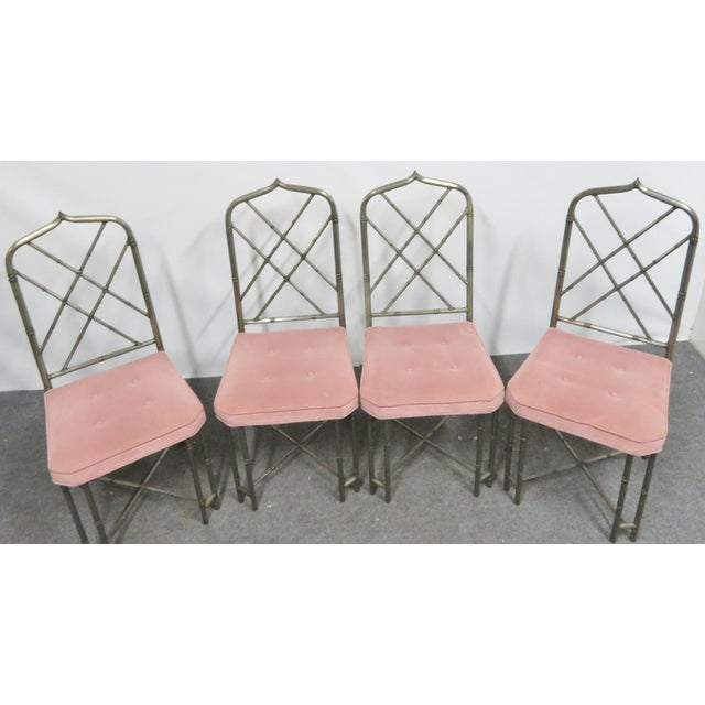Set of four steel Faux Bamboo dining chairs , Brutalist style welds, gothic arch form on tops of chairs